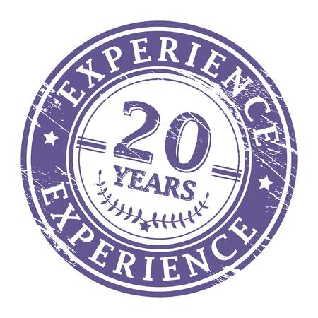 경험: 20 년의 경험 안에 기록 된 텍스트로 grunge 고무 스탬프