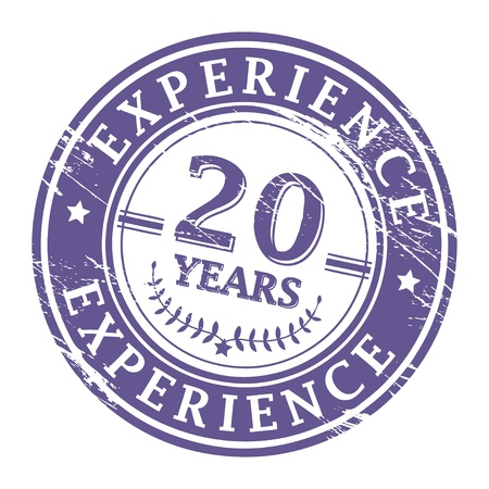 experience: Grunge rubber stamp with the text 20 Years Experience written inside