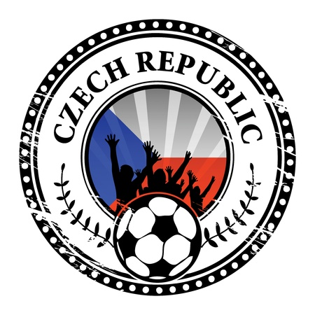 Grunge stamp with football fans and name Czech Republic Stock Vector - 15251142