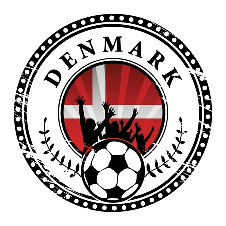 Grunge stamp with football fans and name Denmark Stock Vector - 15251143