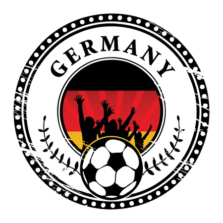Grunge stamp with football fans and name Germany Vector