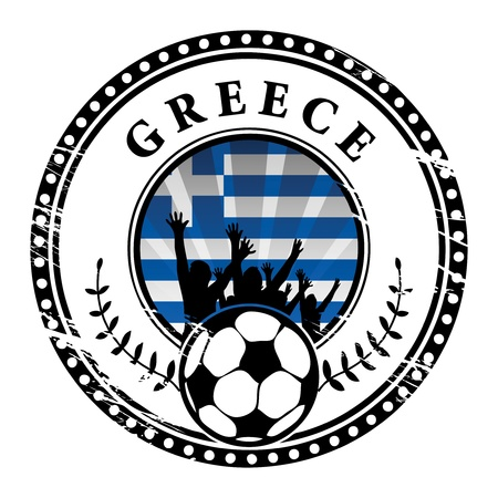 Grunge stamp with football fans and name Greece Stock Vector - 15251144