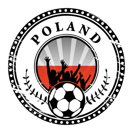Grunge stamp with football fans and name Poland Stock Vector - 15251109