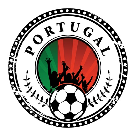 Grunge stamp with football fans and name Portugal Vector