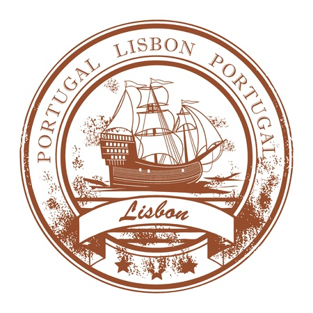 Abstract grunge rubber stamp with sailboat and the name Lisbon, Portugal written inside the stamp 矢量图像