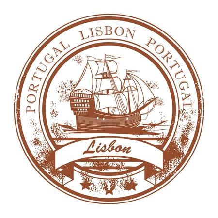columbus: Resumen grunge sello de goma con velero y el nombre Lisboa, Portugal escrito dentro del sello