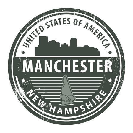 manchester: Grunge rubber stamp with name of New Hampshire, Manchester