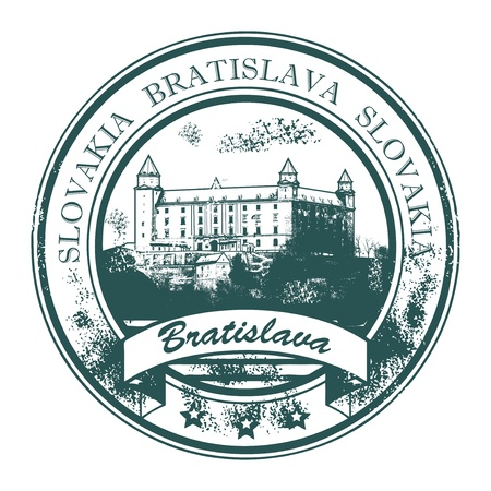 Grunge rubber stamp with Bratislava Castle building and the words Bratislava, Slovakia inside