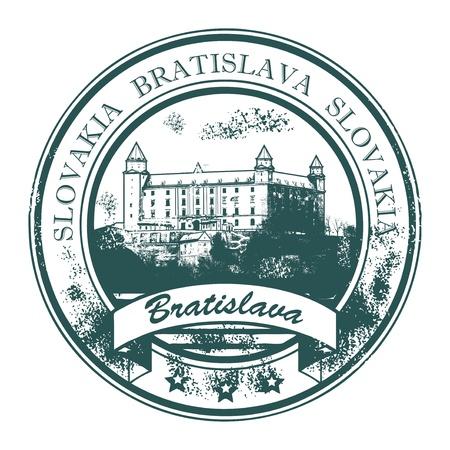 slovakia: Grunge timbro di gomma con Castello di Bratislava costruzione e la parole Bratislava, Slovacchia all'interno