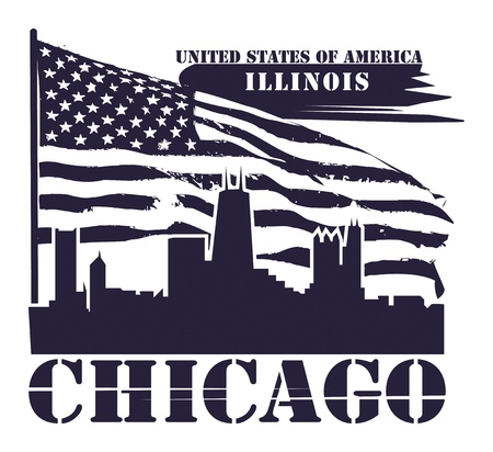Grunge label with name of Illinois, Chicago