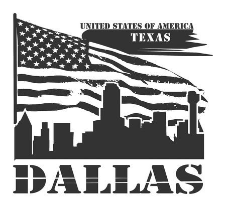 Grunge label with name of Texas, Dallas Vector