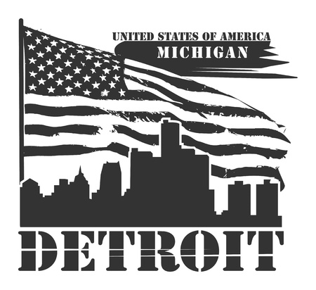 Grunge label with name of Michigan, Detroit