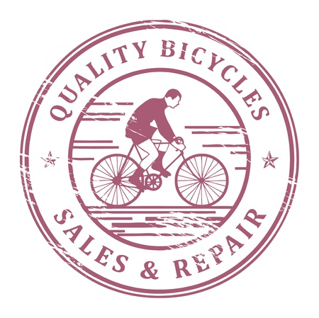 bicycling: Grunge rubber stamp with bicycle and the words Quality Bicycles inside Illustration