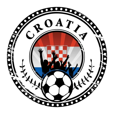 qualified: Grunge stamp with football fans and name Croatia Illustration