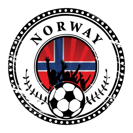 Grunge stamp with football fans and name Norway Vector