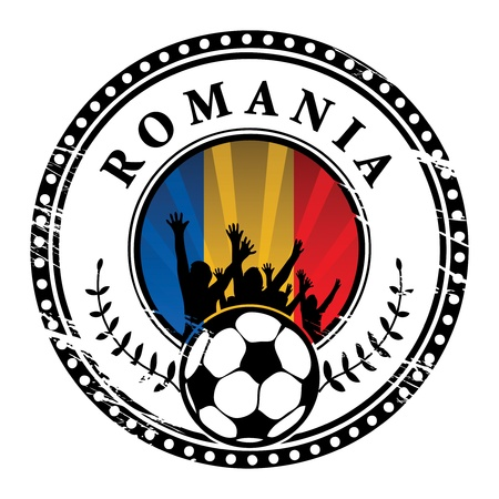 romania flag: Grunge stamp with football fans and name Romania