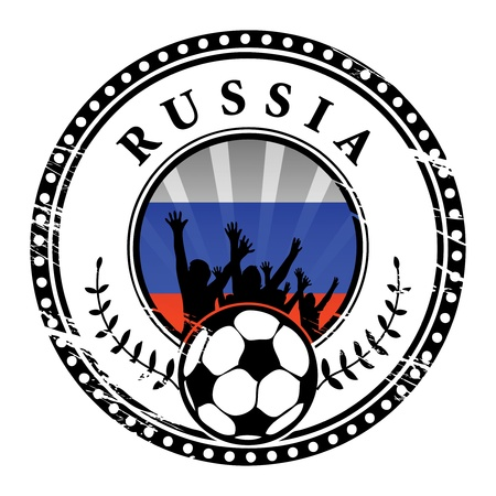 qualified: Grunge stamp with football fans and name Russia