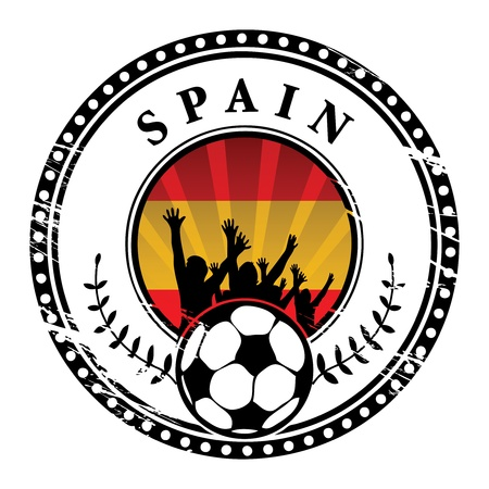 qualified: Grunge stamp with football fans and name Spain
