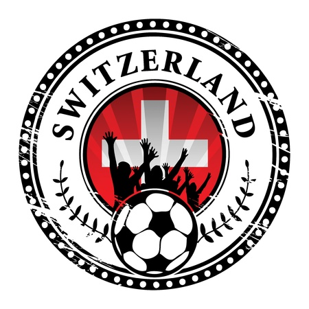 Grunge stamp with football fans and name Switzerland Stock Vector - 15314077