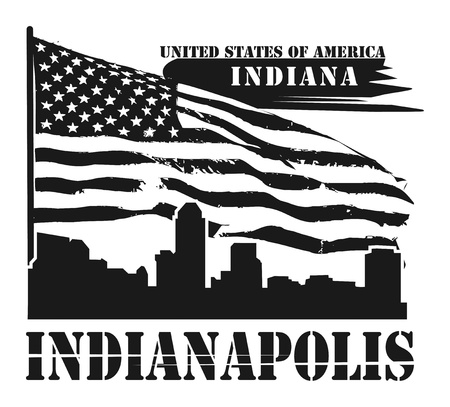 indianapolis: Grunge label with name of Indiana, Indianapolis
