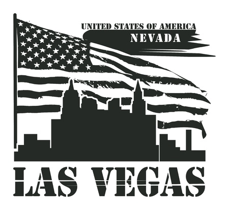 Grunge label with name of Nevada, Las Vegas Vector