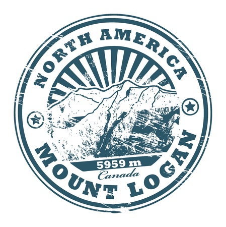 Grunge rubber stamp with the Mount Logan, highest mountain peak in Canada Stock Vector - 15314090