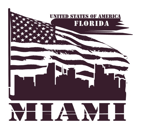 Grunge label with name of Florida, Miami Vector