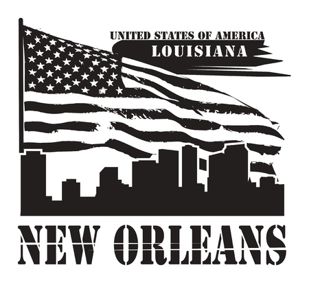 louisiana flag: Grunge label with name of Louisiana, New Orleans