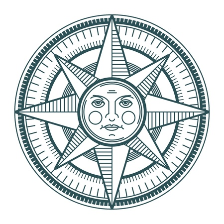 windrose: Vintage sun compass rose