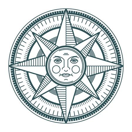 kompassrose: Weinlese Sun Kompassrose