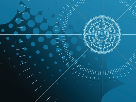 nautical star: Blue background with compass rose