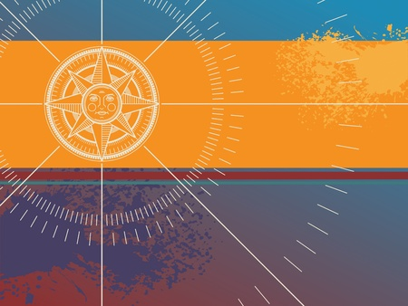 nautical compass: Color background with compass rose