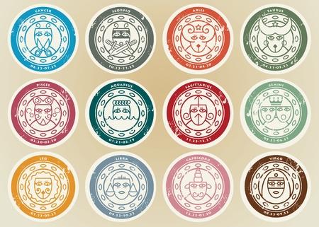 Horoscoop Zodiak stickers set Vector Illustratie