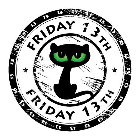 13th: Grunge rubber stamp with black cat and the words Friday 13th inside