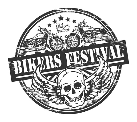 old motorcycle: Grunge rubber stamp with skull and the words Bikers Festival inside