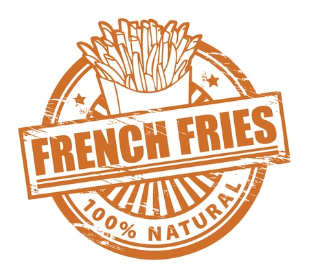 french symbol: Grunge rubber stamp, with the text french fries written inside Illustration