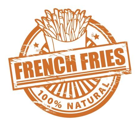 papas fritas: Grunge sello de goma, con las papas fritas franc�s texto escrito dentro
