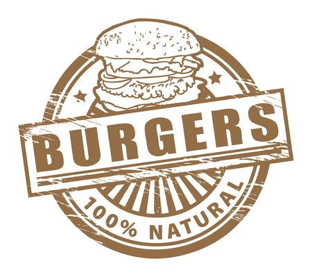 burger background: Grunge rubber stamp, with the text burgers written inside