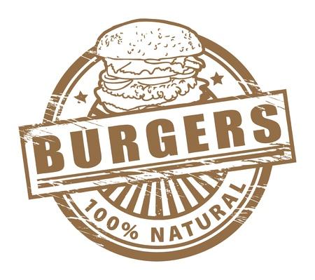 HAMBURGESA: Grunge sello de goma, con las hamburguesas de texto escritos en el interior