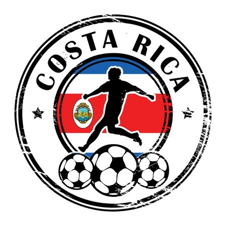 costa rica: Grunge stamp with football and name Costa Rica