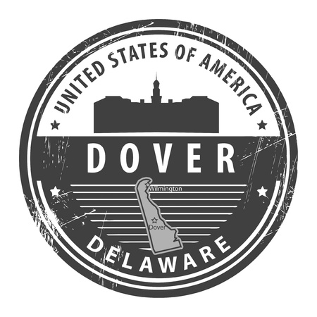 dover: Grunge rubber stamp with name of Delaware, Dover Illustration