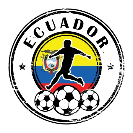 soccer: Grunge stamp with football and name Ecuador Illustration