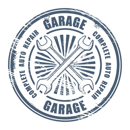 grunge sello: Servicio de coche garage grunge sello