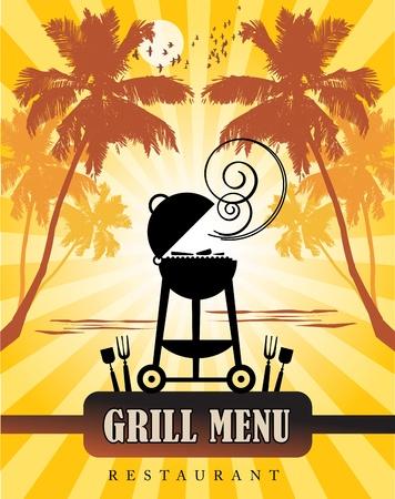 carne asada: Grill tropical Men� Vectores