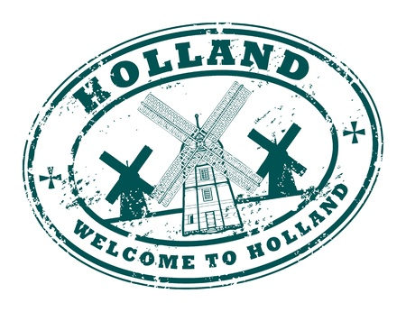 oval: Grunge rubber stamp with windmill and the word Holland inside Illustration