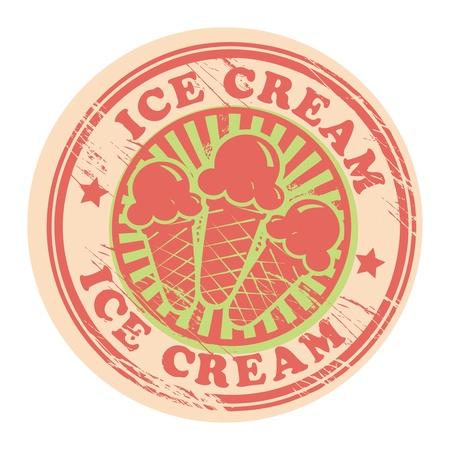 coppa di gelato: Vintage retr� ice cream etichetta Vettoriali