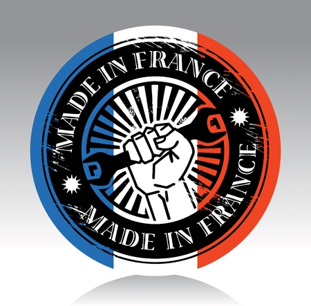 french symbol: Abstract label with hand holding wrench and words made in france