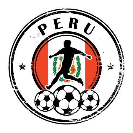 bandera de peru: Grunge sello con el f�tbol y el nombre de Per� Vectores