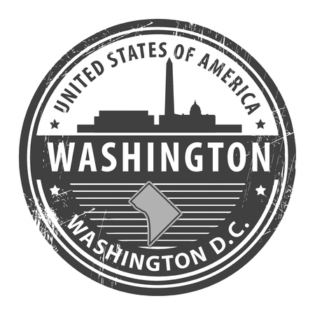 washington state: Grunge rubber stamp with name of Washington D C , Washington