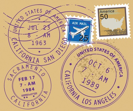 air mail: Set of USA post stamp symbols Illustration
